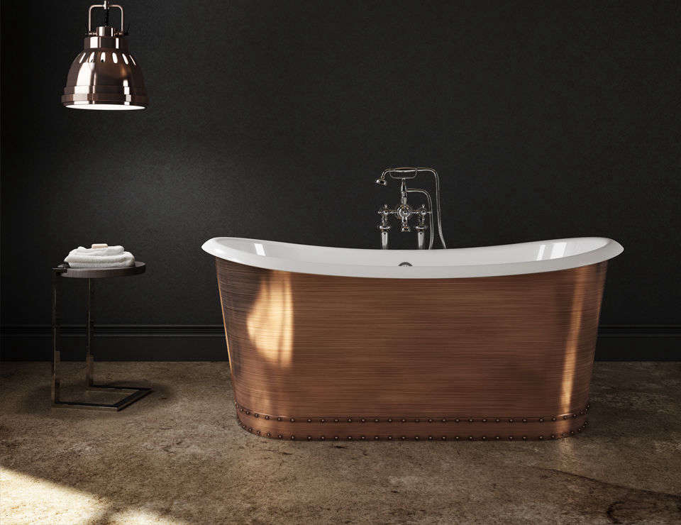 TheSlik Portfolio Copper Tub is a cast-iron tub with an enamel inner and copper-plate skirt finish; $8,996 at Home & Stone.