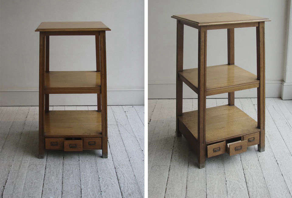 A Tailor's 3-Tier Display Table is an English oak table from the early th century at Christopher Howein London.