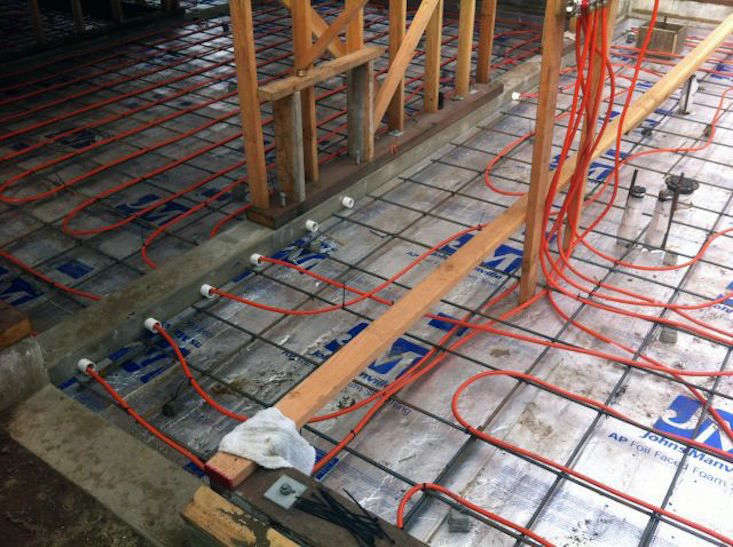 An electric radiant heating wire system installation from contractor Jeff King & Co.
