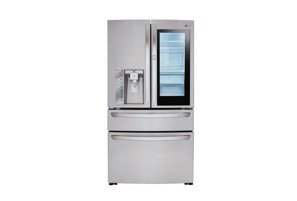 The LG 4-Door French Door Refrigerator with Door-in-Door Stainless Steel has a feature where knocking twice on the refrigerator illuminates the inside through the glass; $3,098 at the Home Depot.