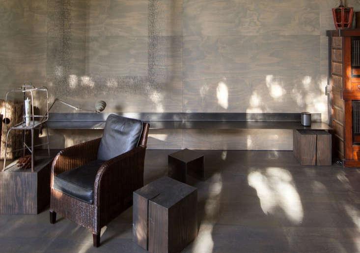 living room dappled light wood block stools