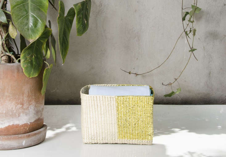 Diario captures the spirit of Mexico with brightly colored, everyday goods made by artisans throughout the country. The Rectangular Golden Basket is made from embellished palm by artisans from Tlamacazapa; $65. See more at Diario in Mexico City: An Industrial Designer Reimagines South of the Border.