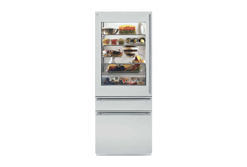 TheGE Monogram 30-Inch Fully Integrated Glass Door Refrigerator with Convertible Drawer is available through GE dealers.