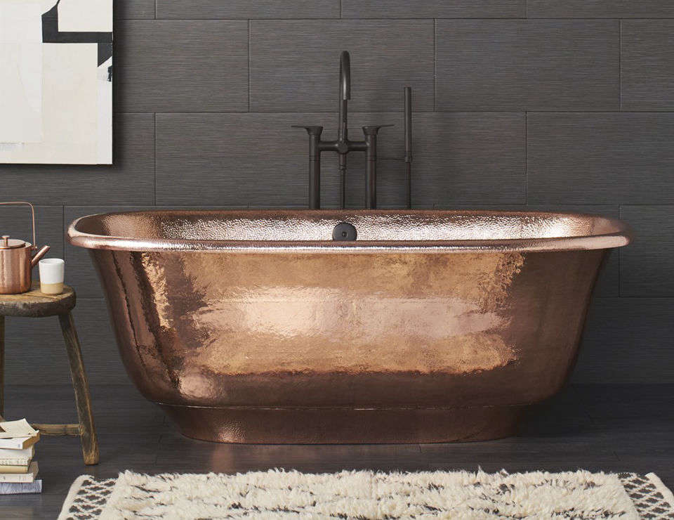 The Native Trails Santorini Freestanding Copper Soaking Tub is made of recycled copper and is hand-hammered by a coppersmith; $9,490 at Native Trails.