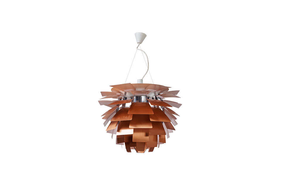 The Louis Poulsen Artichoke Lamp in Copper, designed by Poul Henningsen in 58, starts at $9,737 for the smaller chandelier at Design Within Reach.