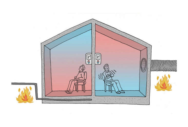 The diagram on the left illustrates the principle of radiant floor heating in which heated surfaces transmit heat to all surrounding objects. There is no loss of heat because everything is at the same temperature. The diagram on the right illustrates how heated air in a conventional forced-air system rises to the ceiling and then comes back down as cool air. This explains how you can still be cold when the thermostat says 7