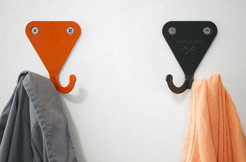 TheSR Wall Hook by LA-based studio Scout Regalia features two small hooks for holding essentials; $ each for any of the six color options. (We love them in metallic finishes, too; seeHardware Update: SR Hooks in Metal from Scout Regalia.)