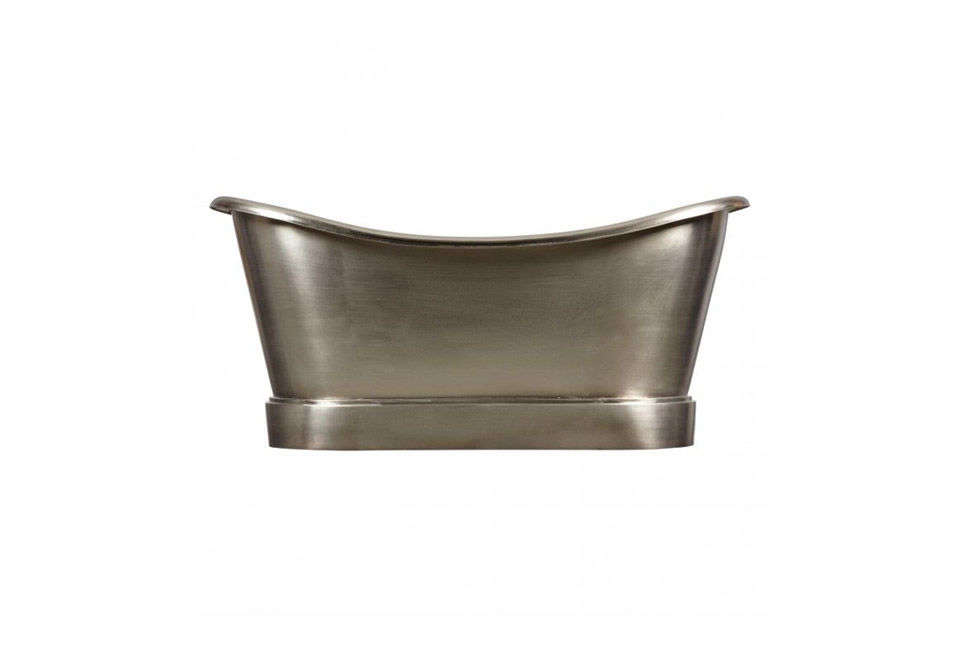 10 Easy Pieces Silver Finish Freestanding Bathtubs The 66 Inch Larimore Nickel Plated Copper Double Slipper Tub is made from copper with a patinated nickel finish; \$3,6\10 at Signature Hardware.
