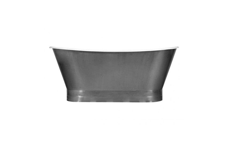 10 Easy Pieces Silver Finish Freestanding Bathtubs The 68 InchRowley Bateau Cast Iron Skirted Tub has a stainless steel exterior and enamel interior; \$3,499 at Signature Hardware.