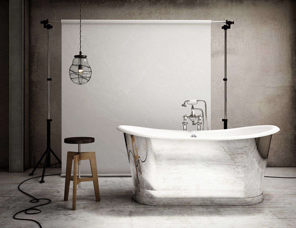 10 Easy Pieces Silver Finish Freestanding Bathtubs From bathroom design company Slik, thePortfolio Mirror Tub is a cast iron base with a mirror finish stainless steel skirt and enamel interior; \$7,875 at Home & Stone.