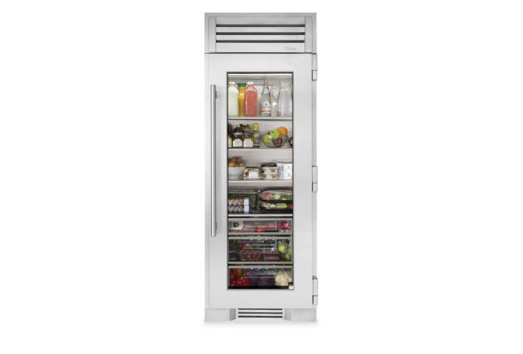 The narrowTrue Residential 30-Inch Stainless Glass Column Refrigerator has a glass front and is available through True dealers. For more, see Easy Pieces: Glass Door Refrigerators.