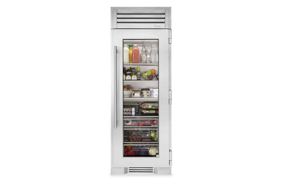 The narrower True Residential 30-Inch Stainless Glass Column Refrigerator is available later this spring () through True dealers.