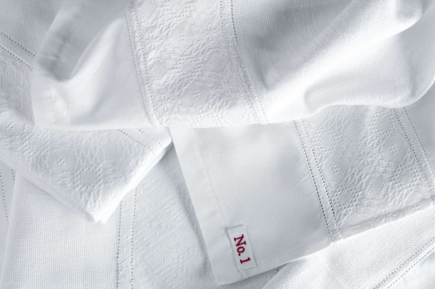A detail of the jacquard border of Towel Style No. src=