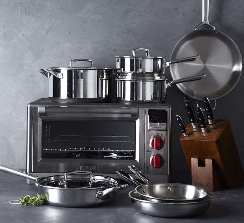 the wolf gourmet oven, with the brand&#8\2\17;s distinctive red knobs, is s 17