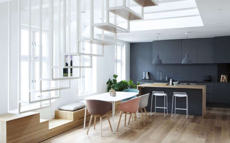 built in seating and drawer storage in an oslo kitchen designed byhaptic, an  9