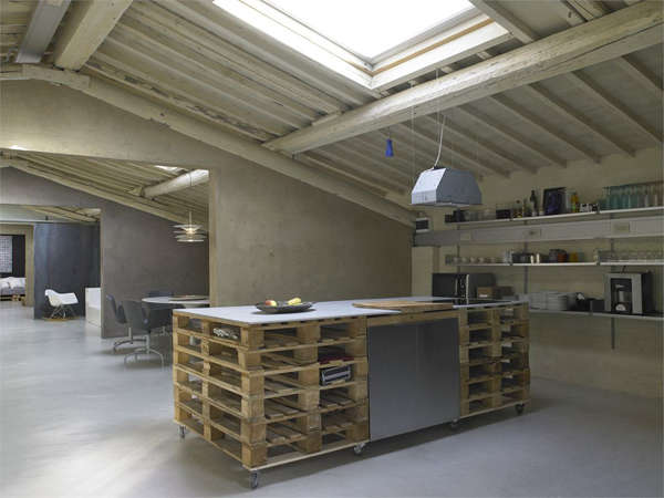 Admiring the lofty ceilings and unexpected kitchen island inDesign Renaissance: A Pallet Loft in Florence.