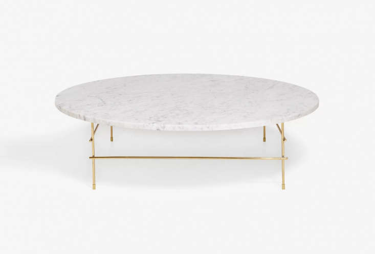 The Woke Coffee Table in Marble and Brass is similar to the one Nye sourced from Rejuvenation in Portland (now unavailable). It&#8