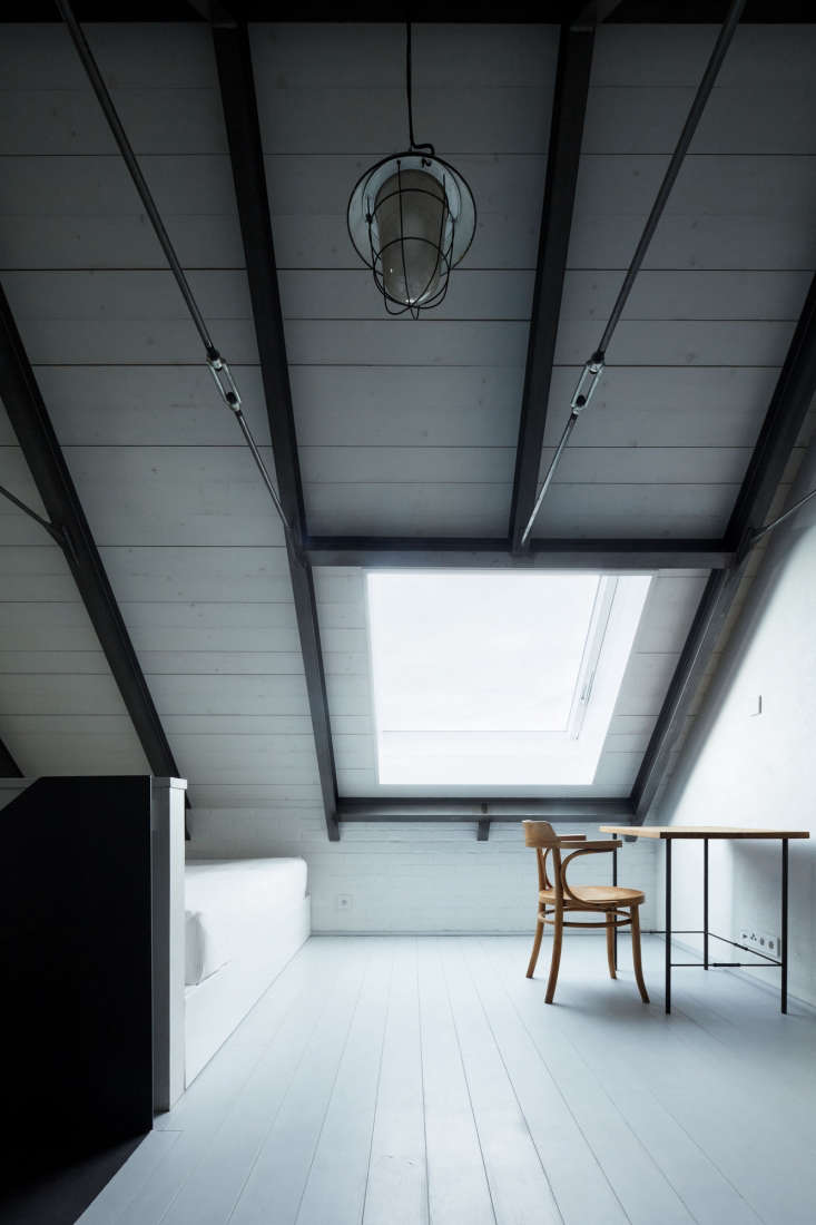 a skylight, cut into the gabled roof, adds plenty of light. the floors are pain 16