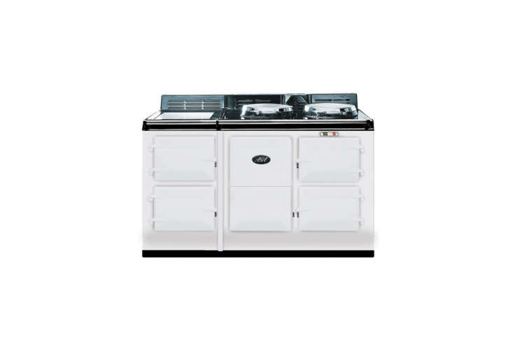 The classic Aga Four-Oven Cooker offers four ovens, two hot plates, and a warming plate; $