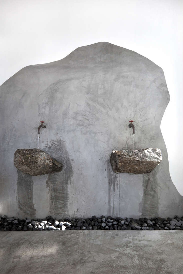 Rock sinks at Alemí gou by Athens architecture firm K-Studio from A Greek Taverna on the Beach, Breeze Included.