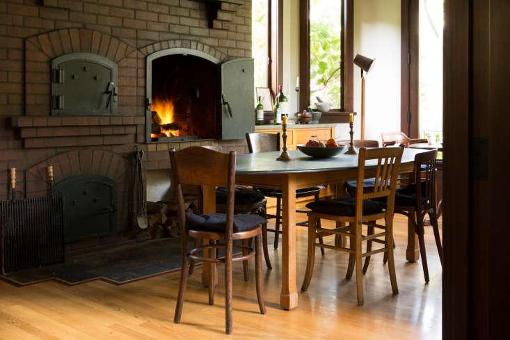 alice&#8\2\17;s slate topped dining tableis from the gardener in berkeley. 16
