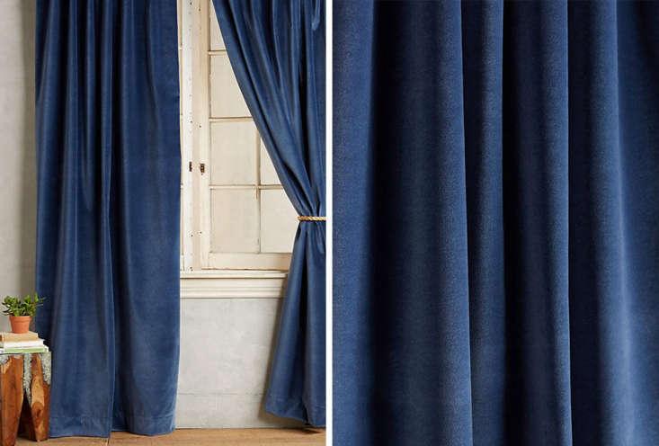 find blue velvet curtains at anthropologie: matte velvet curtains in indigo for 22