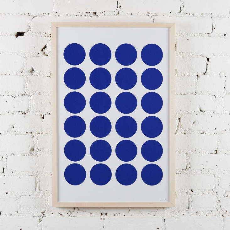 A favorite Remodelista haunt, The Picture Room has just moved from Nolita to Brooklyn Heights. Dots V (Dark Blue) is from LA artist Benjamin Critton&#8