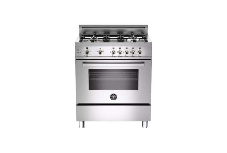 Our Bertazzoni 30-inch gas range model (pictured) is discontinued; its newer version, the Bertazzoni Professional Series 30 Inch Gas Range with 4 Brass Burners, is $3,67