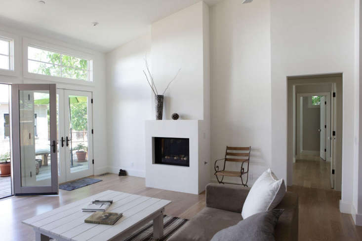 A minimalist fireplace in a house remodeled by Napa, California, designer Carolyn Leonhardt, who recommends making &#8