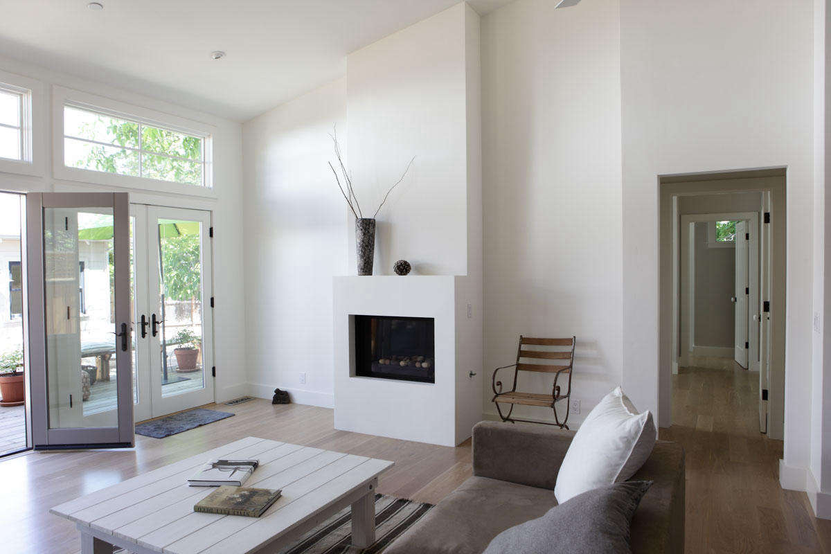 Aminimalist fireplace in a house remodeled by Napa, California, designer Carolyn Leonhardt, who recommends making &#8