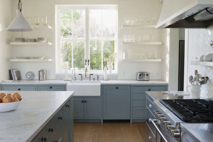 A kitchen in Mill Valley by architect Ken Linsteadt with lower cabinets painted in Farrow & Ball&#8