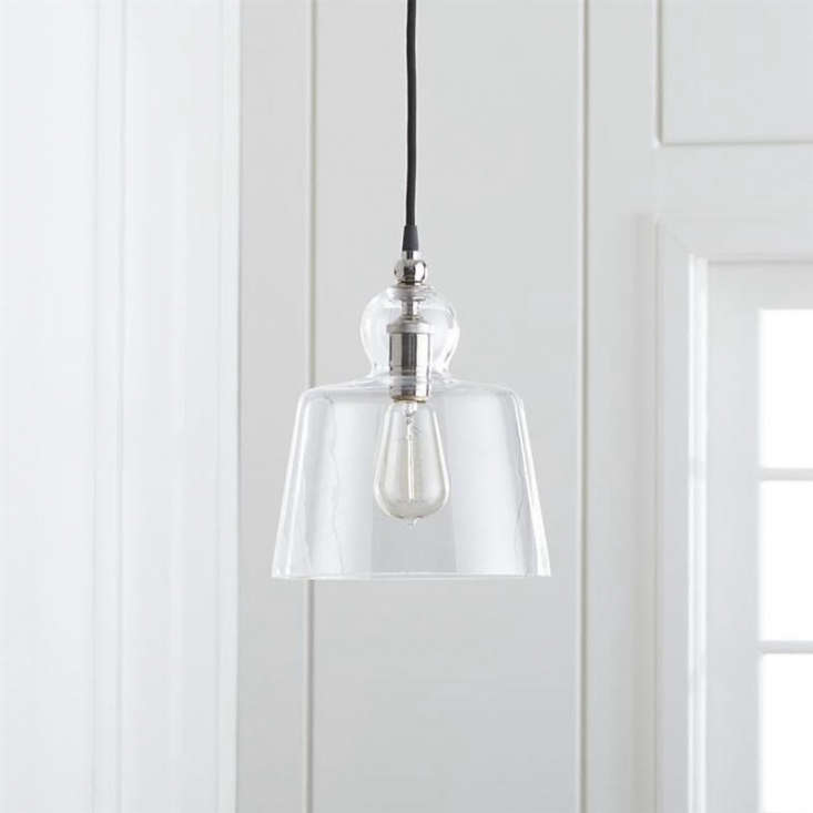 the lander polished nickel pendant light has the same bell shaped shade and is  10