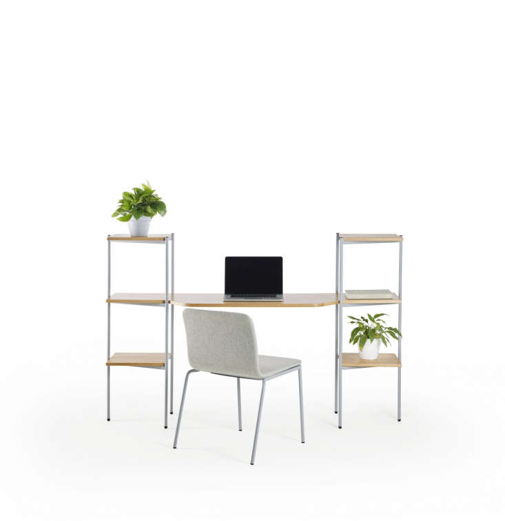 the troika desk and shelving unit is composed of stackable modular parts that c 12