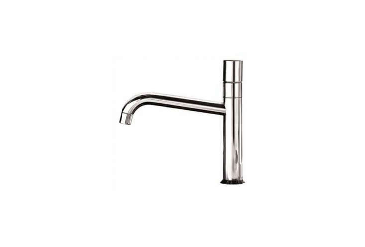 TheFantini Nostromo Single Control Kitchen Faucet has a streamlined cylindrical handle and swivel spout. Available in platinum steel or chrome at Focal Point; contact the showroom for more information.