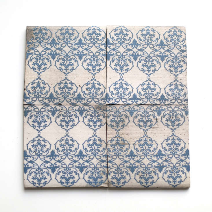 Cortina Blue Delf tiles are $.50 each (minimum order of 40 tiles) from Clé Tile.
