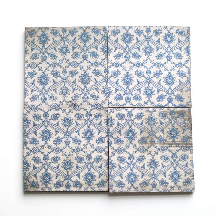 The Iznik Blue Delft tiles are $.50 each (minimum order of 40 tiles) from Clé Tile.
