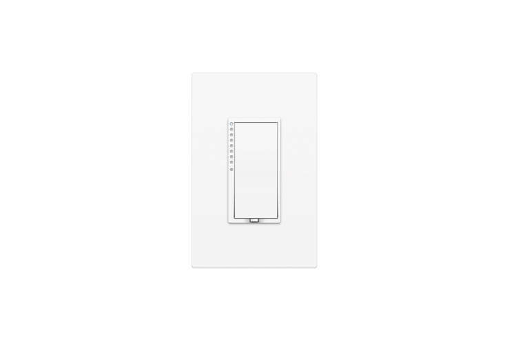 The Insteon Remote Control Dimmer Switch ($49.99; also available via Amazon) requires the Insteon Hub; it integrates with Apple HomeKit technology and also with Amazon Alexa. The accompanying Screwless Wall Plate ($