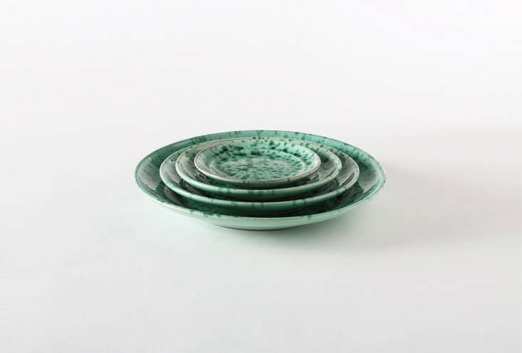 green on green splatterware plates from puglia; \$35 to \$\100 at march. 14