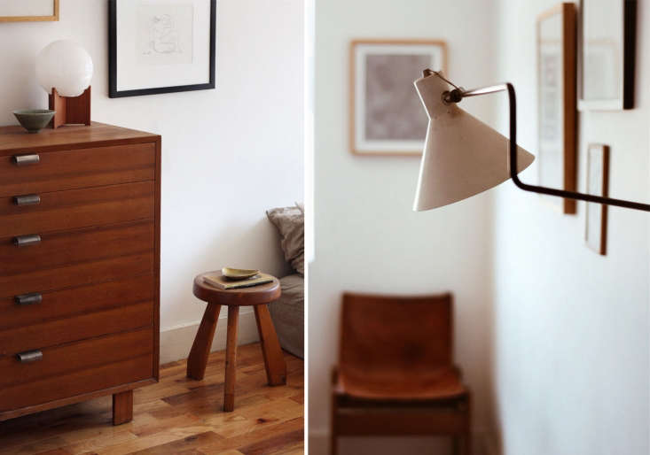 Above L: A dresser by George Nelson for Herman Miller stands alongside a Charlotte Perriand Les Arcs stool. Above R: On another bedroom wall, a swing-arm lamp by JJM Hoogervorst for Anviaa hangs opposite a 70s leather chair by Afra and Tobia Scarpa, which Kirill bought in Italy.