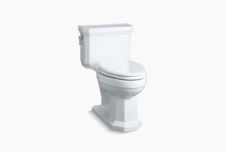 the kathryn one piece compact toilet from kohler has a \1930s inspired profile; 9