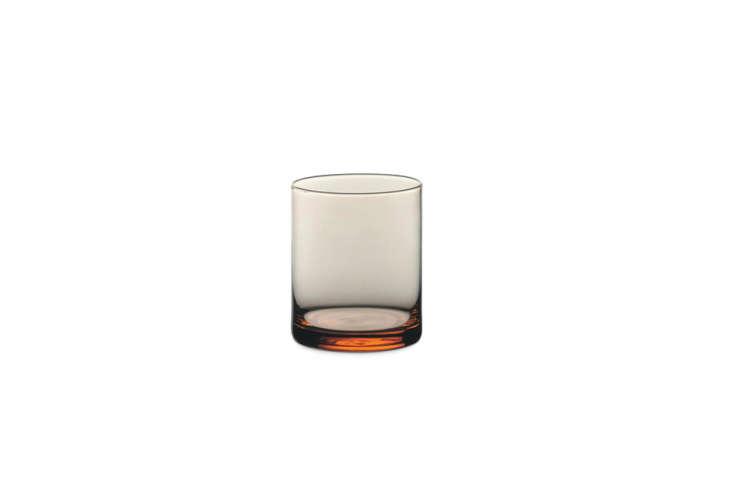 thesalmon glass tumbler is a pinkish orange glass; \$8.4\1 at merci. 10