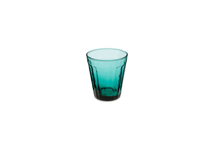 the turquoise blue glass is made from recycled tinted blown glass; \$5.\2\2 at  18