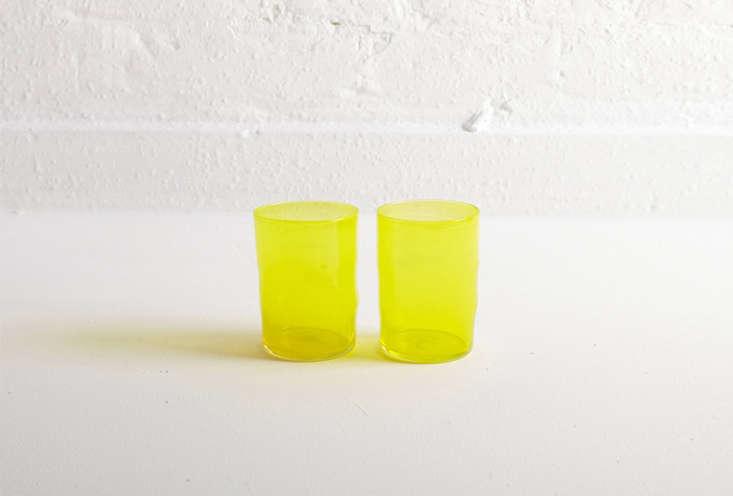 designer michael ruh&#8\2\17;s pair of hand blown glasses, shown in lemon b 11