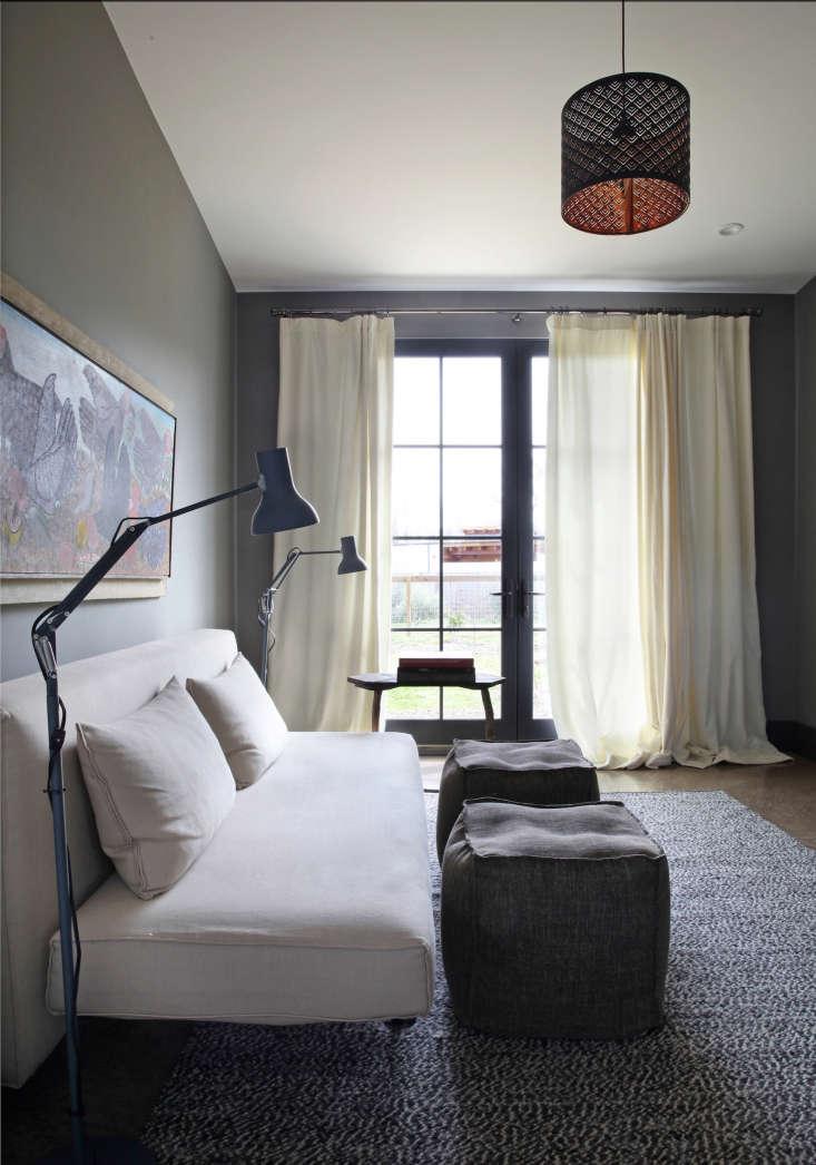 modern low white sofa with pouf ottomans reading room sonoma