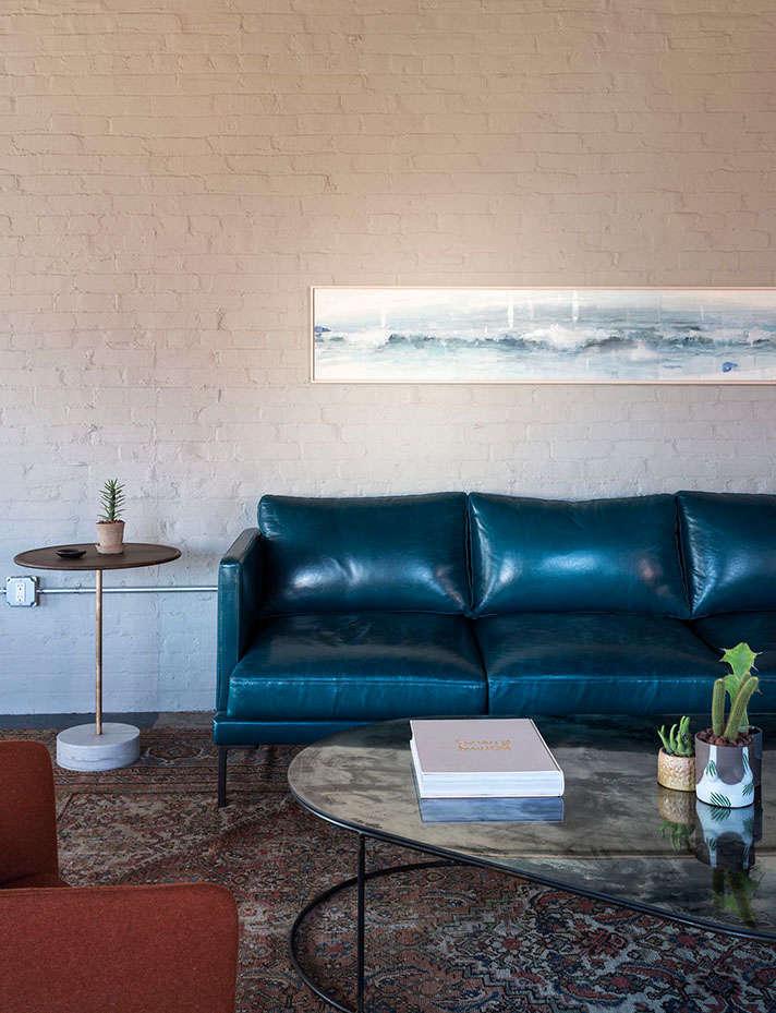 mulherin hotel philadelphia blue sofa