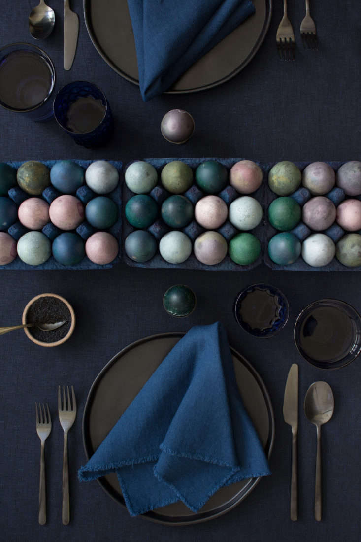 The David Stark team paired their DIY dyed egg runner with plates from World Market, flatware from CB
