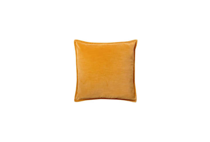 The Washed Velvet Pillow Cover, shown in Honey Gold, is $ at Pottery Barn.