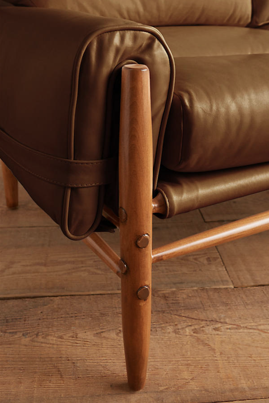 A detail of the maple joinery. The leather is meant to patina over time.