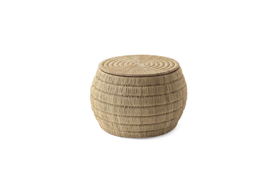 The Cliff Woven Drink Table is made of abaca rope and has a storage compartment; $src=