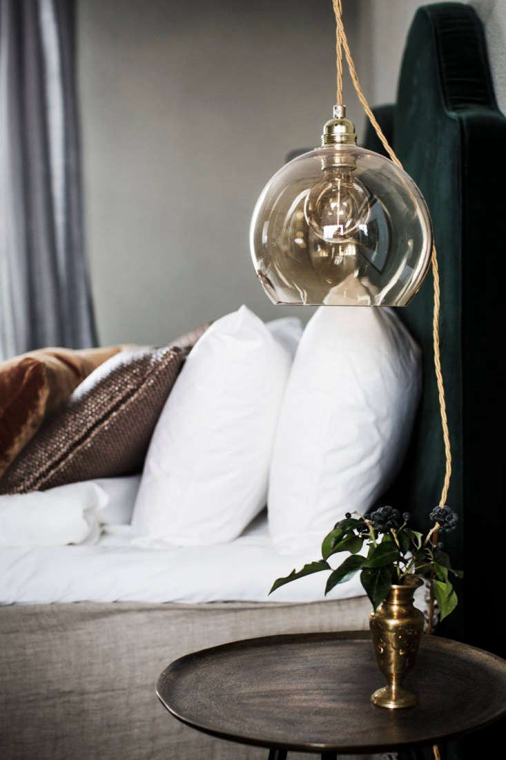 The Rowan pendant light from Danish lighting company Ebb & Flow is made of mouth-blown glass.